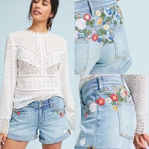 Pilcro Mid-Rise Embroidered Boyfriend Shorts